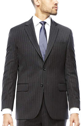 STAFFORD Stafford Super 100 Charcoal Chalk-Stripe Wool Suit Jacket - Classic Fit