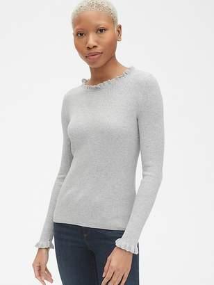 Gap Ribbed Ruffle-Trim Crewneck Pullover Sweater