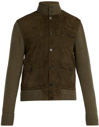 Ralph Lauren Purple Label Cashmere and suede single-breasted military jacket
