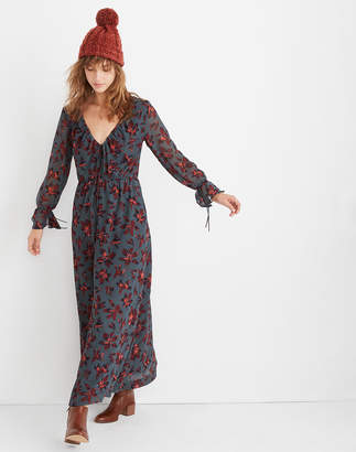 Madewell Willowleaf Tie-Sleeve Maxi Dress in Winter Orchid