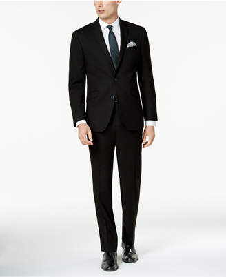 Kenneth Cole Reaction Men's Techni-Cole Solid Black Big and Tall Slim-Fit Suit