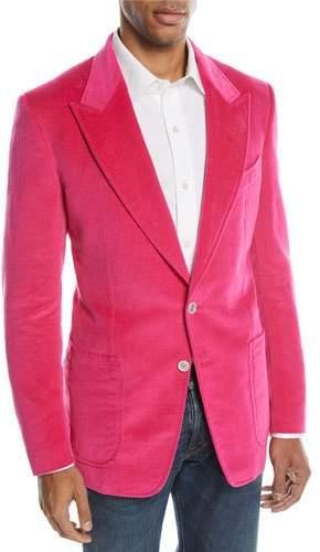 TOM FORD Shelton Bright Velvet Two-Button Jacket
