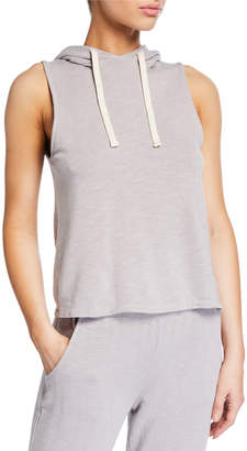 Monrow Cross-Back Sleeveless Pullover Hoodie