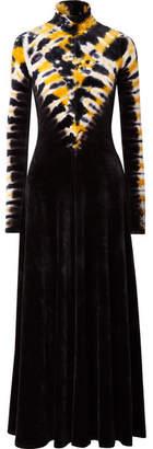 Proenza Schouler Tie-dyed Stretch-velvet Turtleneck Maxi Dress - Navy