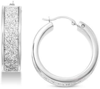 Signature Gold Diamond Accent Glitter Hoop Earrings in 14k White Gold Over Resin