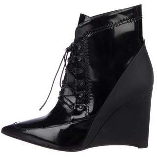 Derek Lam Patent Leather Wedge Ankle Boots