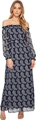 Taylor Dresses Women's 3/4 Length Sleeve Clip Dot Metallic Chiffon Maxi Dress