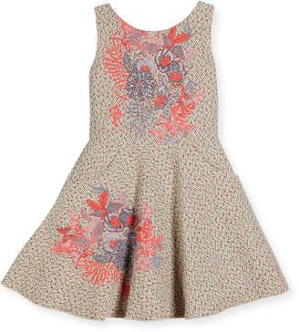 Zoe Day Dream Metallic Tweed Swing Dress Pink Pattern Size 7-16