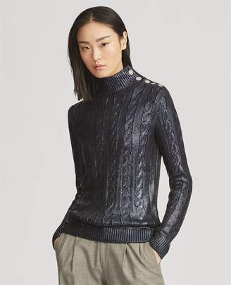 Ralph Lauren Silk Cable Turtleneck Sweater