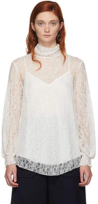 See by Chloe Off-White Lace High Neck Blouse