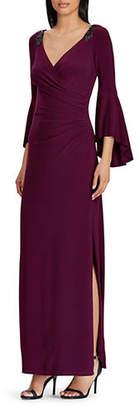 Lauren Ralph Lauren Jersey Bell-Sleeve Gown