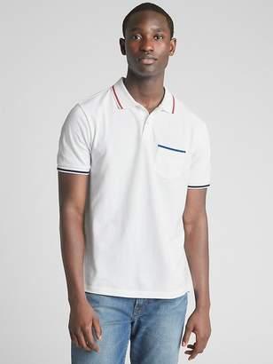 Gap Short Sleeve Pique Polo Pocket Shirt