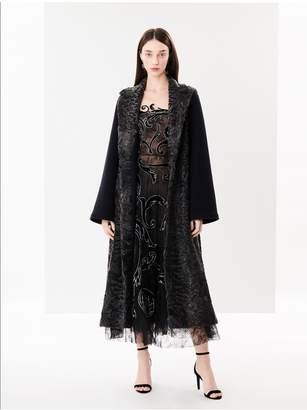 Oscar de la Renta Black Dyed Mink And Chinese Lamb Wrap Coat
