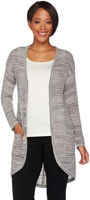 Halston H By H by Textured Space Dye Open Front Cardigan