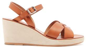 A.p.c. - Judith Leather And Suede Wedge Sandals - Womens - Tan