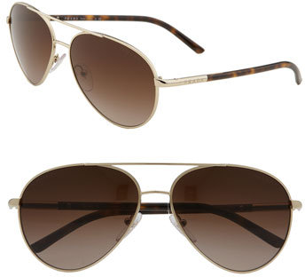 Prada 'Tubular' Metal Aviator Sunglasses