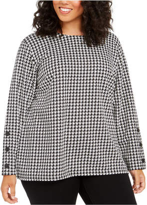 Tommy Hilfiger Plus Size Houndstooth-Check Top