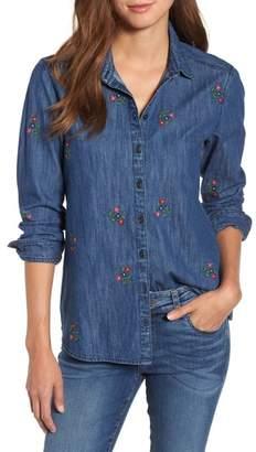 Caslon Floral Embroidery Cotton Denim Shirt