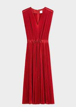 Women's Red Pleated Sleeveless Midi Dress