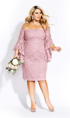 City Chic Citychic Mystic Lace Dress - blush