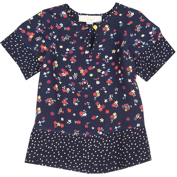 Stella McCartney Inca Baby Girl Dress w/ Floral Print (Infant) (Navy) - Apparel