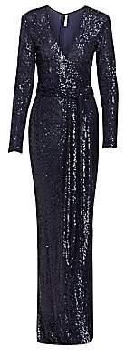 Naeem Khan Women's Sequin Long-sleeve Belted Column Gown
