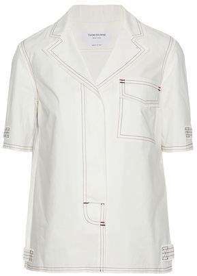 Thom Browne Embroidered Cotton-Poplin Shirt