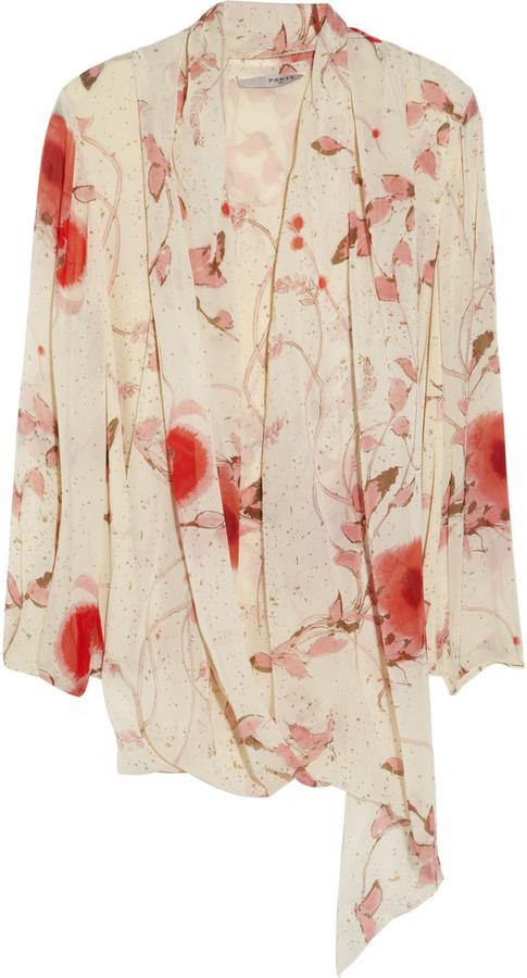 Ports 1961 Printed silk-chiffon blouse