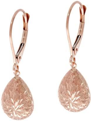 14K Gold Diamond Cut Lever Back Drop Earrings