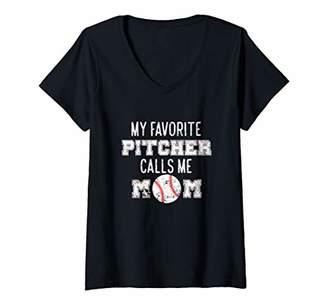 Womens My Favorite Pitcher Calls Me Mom - Baseball Mom V-Neck T-Shirt