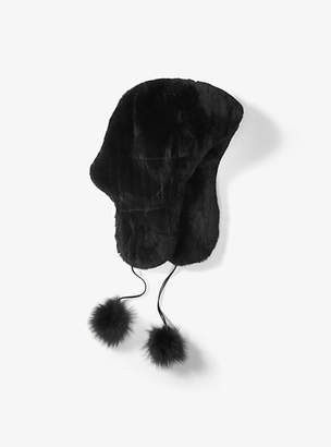 Michael Kors Fur Pom-Pom Earflap Hat