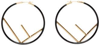 Fendi Black and Gold Large F is Hoop Earrings