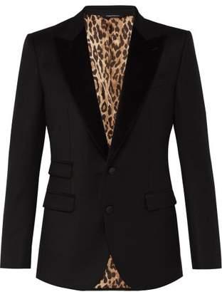 Dolce & Gabbana Velvet Lapel Wool Blend Leopard Tuxedo Jacket - Mens - Black