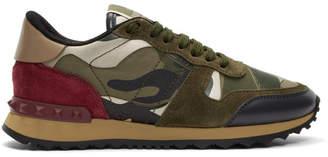 Valentino Green Garavani Camo Rockstud Runner Sneakers