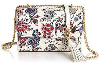 Tory Burch Fleming Small Convertible Floral Leather Shoulder Bag