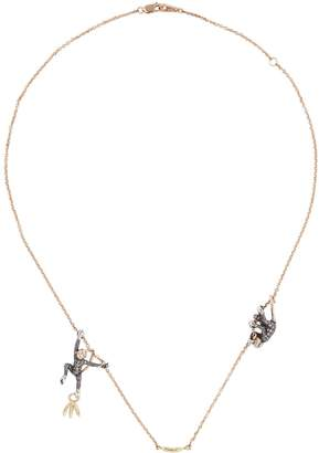 Bibi Van Der Velden Rose Gold and Diamond Two Monkeys Necklace