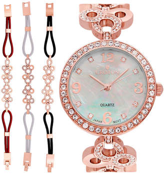 Croton Womens Rose Goldtone 4-pc. Watch Boxed Set-Cn407567rgmp