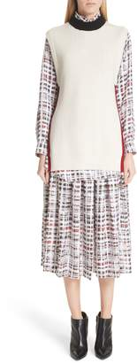Burberry Farnborough Pleated Check Silk Midi Skirt