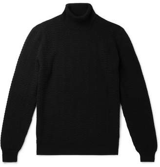 Ermenegildo Zegna Slim-fit Cable-knit Cashmere Rollneck Sweater - Black