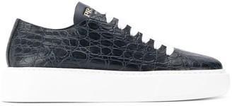 Prada embossed crocodile effect sneakers