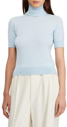 Ralph Lauren Cashmere Jersey Turtleneck Short-Sleeve Sweater