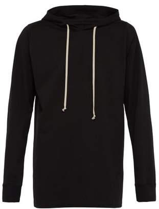 Rick Owens Longline Cotton Hooded Sweatshirt - Mens - Black