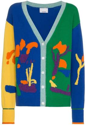 I Am Chen patterned colour block cardigan