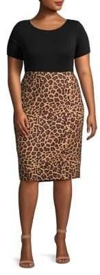 Lord & Taylor Plus Leopard Print Pencil Skirt