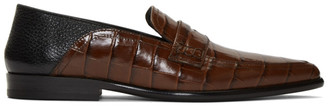 Loewe Brown Croc Pointy Slip-On Loafers