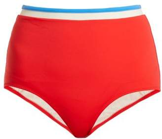Solid & Striped The Katie High Rise Bikini Briefs - Womens - Red Multi
