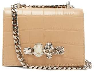 Alexander McQueen Jewelled Crocodile Effect Leather Shoulder Bag - Womens - Nude