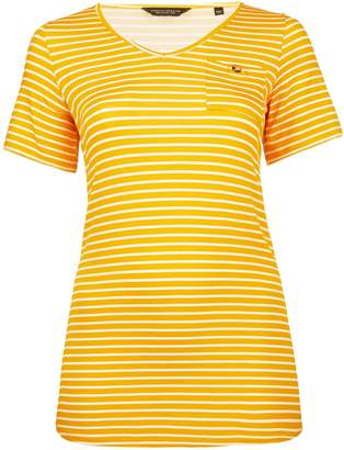 Dorothy Perkins Womens **Dp Curve Yellow And White Striped Pocket T