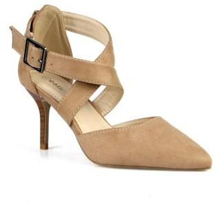 BEIGE Calico Kiki Criss cross Adjustable Ankle Strap Women's Pumps in