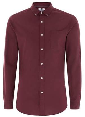 Topman Mens Red Burgundy Muscle Fit Oxford Long Sleeve Shirt